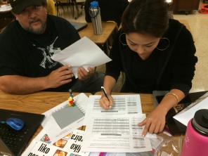 Two teachers working on the lego activity