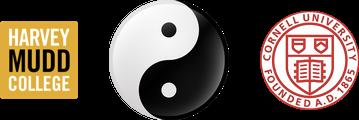 Harvey Mudd College logo, yin-yang symbol, Cornell University logo