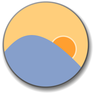 F.lux logo — a yellow and blue circle. It looks like the sun rising over the ocean