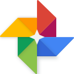 Google Photos logo — it's like four parallelograms arranged in a circle. There are yellow, red, blue, and green parallelograms.
