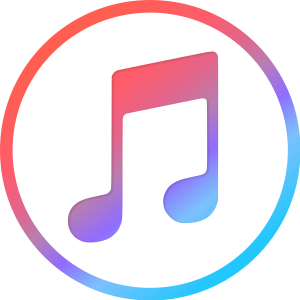 iTunes logo—a red to blue gradient circle with a two-quarter note music symbol inside, also colored with that red and blue gradient