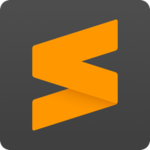 Sublime Text logo—a black, rounded square with an orange, geometric S shape inside it