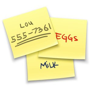 "mac stickies app logo — three yellow sticky notes overlapping each other. one has ""MILK"" written in blue ink, ""EGGS"" written in red ink, and ""Lou 555-7361"" written in black ink, with two lines under the phone number"