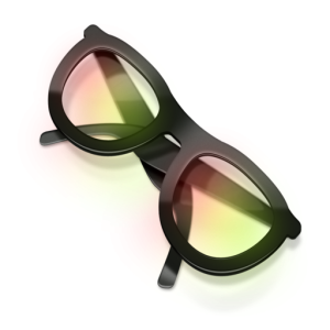 a pair of black glasses (looks like plastic) with lenses that are tinted red and green