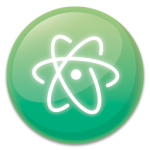 atom.io logo — it's a green circle with a white atom outline in it