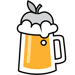 homebrew logo — it's a pint of foamy beer with a silver apple floating in it