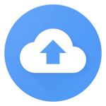Backup and Sync logo — it's a blue circle with a white cloud, inside of which there is a blue arrow pointing up