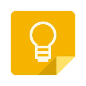 Google Keep logo — it's a yellow square with the bottom right corner folded up. there's a white outline of a lightbulb on it