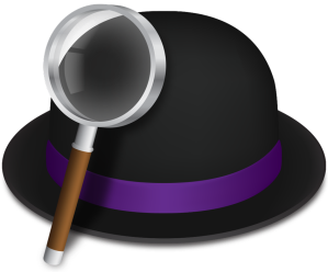 Alfred logo — it' a black bowler hat with a purple strip on the rim and a magnifying glass with a brown handle is leaning on the hat