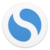 Simplenote logo—a white circle with two blue teardrop like shapes in it, as if they were yin-yang shaped