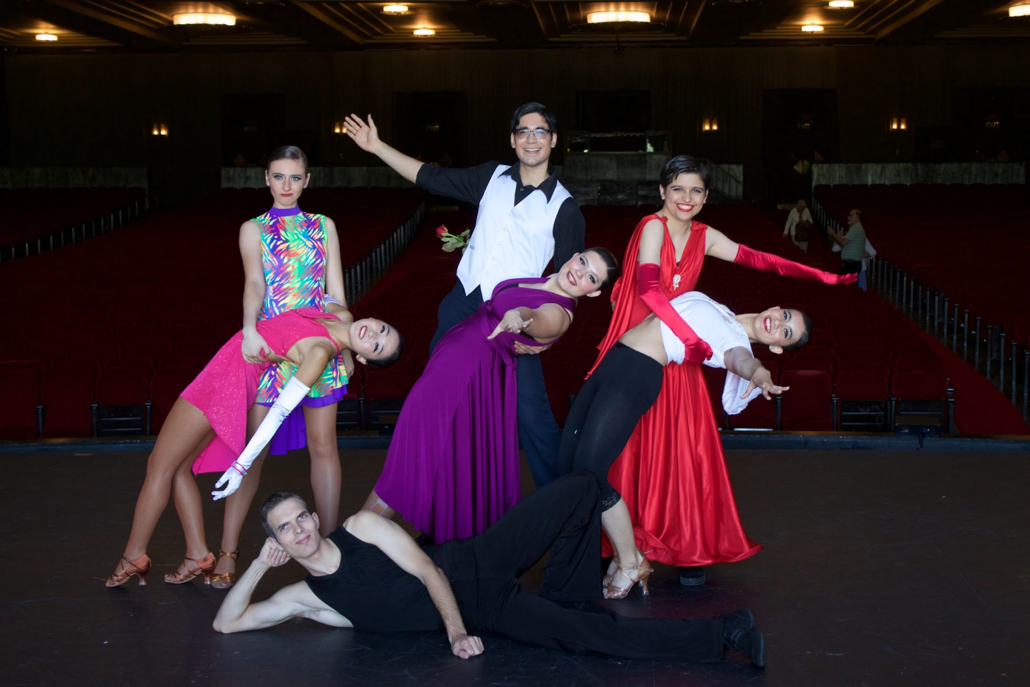 Me with my fellow officers from the Claremont Colleges Ballroom Dance Company. I'm on the right, wearing a red dress.