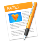 Mac Pages logo—a paper with an orange header that has Pages in white capitals; there is an orange flower photo with writing on this document, and there is an orange pen lying on the paper