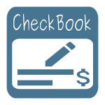 Volkron CheckBook app—it's a blue box with rounded corners with the word CheckBook in it; in an inner white, rounded box, it also has a blue pencil writing a couple of lines to the left of a dollar sign