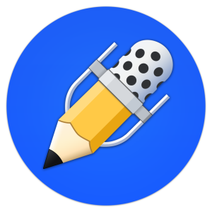 Notability logo—a blue circle with a short yellow number two pencil inside it