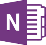 Microsoft OneNote logo—a purple notebook cover, viewed from the side so we see paper in the open notebook; the cover has a white N on it