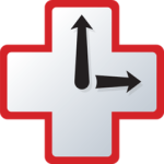 RescueTime logo—a red outline of a cross with two black clock hands/arrows; the time it points to is 3:00