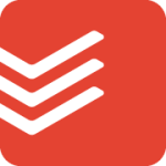 Todoist logo—a red square with rounded corners and three stripes/obtuse checkmarks on the left
