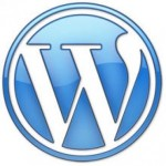 "Wordpress logo — it's basically a blue circle with a white ""W"" inside it"
